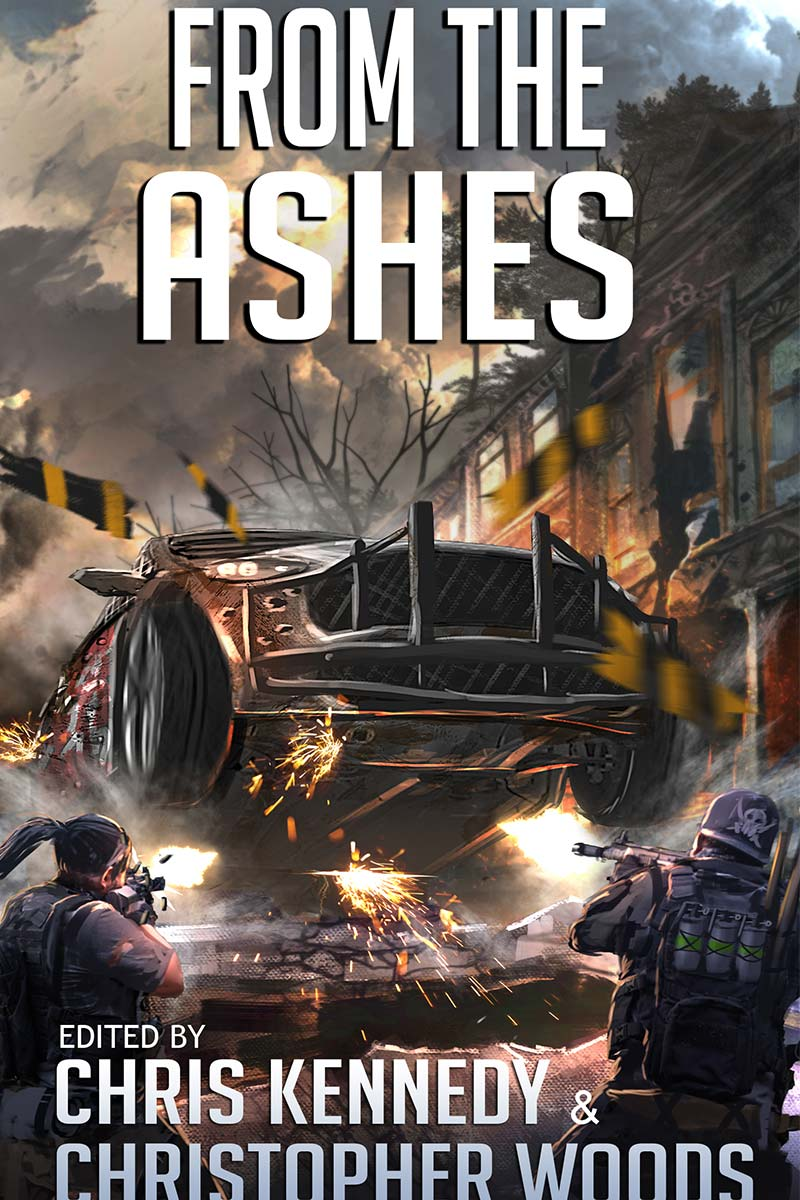 Front cover for the anthology book From the Ashes: Stories from The Fallen World, edited by Chris Kennedy and Christopher Woods. Published 2019.