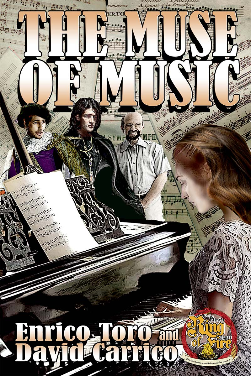 Cover of the alternate history novel The Muse of Music by Enrico Toro and David Carrico, published 2017 by Eric Flint's Ring of Fire Press.